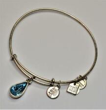 ALEX & ANI Silvertone DECEMBER Birthstone Blue Teardrop Expandable Bracelet