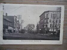 Vintage Postcard, Washington Street, Sanford Maine, undivided back, trolley