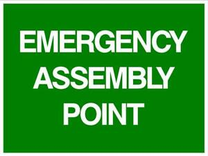 EMERGENCY ASSEMBLY POINT - THICK PLASTIC SIGN - 450 X 300MM - POLYPROPYLENE SIGN
