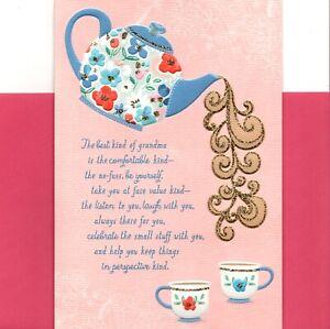 Happy Mother's Day Grandma Hot Tea Teapot Teacups Hallmark Greeting Card
