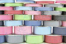10m Reel GINGHAM Ribbon - 6mm, 10mm, 15mm & 25mm widths - Various Colours