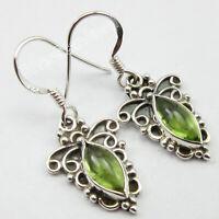 "925 Solid Sterling Silver Peridot 2.6 Ct Dangle Earrings 1.3"" Wholesale Gift"