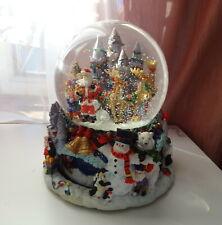 Vtg Christmas Dome Water Snow Globe Santa Tree Elf Motion Scene Base Music Box