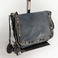 Damen Abend Schulter Tasche Crossbody Messenger Bag echt Leder Jeansblau 0107J