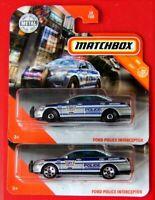 MATCHBOX 2020  2 Stück Rad Varianten FORD POLICE INTERCEPTOR    28/100