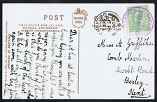 Violet rubber postmark Stoke Edith Herefordshire comic PPC to Bexley Kent 1906