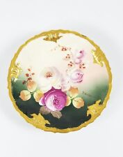 Astonishing Limoges Porcelain Cabinet Plate Hand Painted with Roses by J Marsat