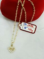 """Gold Authentic 18k saudi gold heart stone necklace,, 18""""n"""