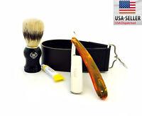 Men's 4 Pc Straight Razor, Shaving Brush, Small Leather Strop & Dovo paste