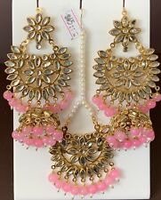 Indian Big Bali Pink Jhumka Pearls Earrings Maang Tikka Fashion Fancy Trend Set