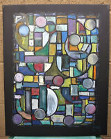 THE UNKNOWN FUTURE abstract 16x20 Black canvas original painting signed Crowell