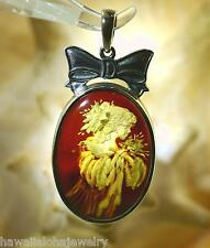 Silver Genuine Baltic Sea Honey Amber Intaglio Cameo 1920s Flapper Pendant #17