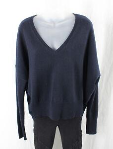 Nili Lotan Navy Blue Cashmere V Neck Sweater Size S