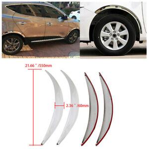 Chrome Car Wheel Eyebrow Stickers Arch Trim Lips Fender Flares Protector 4Pcs