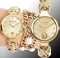 Versus Versace Damen Uhr S27030017 Broadwood  Swarovski CrystaI IP Gold neu