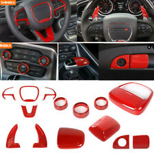 Full Interior Steering Wheel+AC Switch Trim Cover for Dodge Charger 15-2019 Red