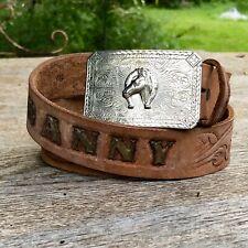 Vintage Handmade Tooled Leather Belt Light Brown 30 Engraved (Danny) Horse Rodeo