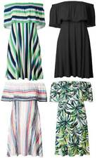 M&S summer jersey bardot dress size 6 - 22 black, multi or green leaf NEW short