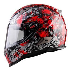 Motorcycle Women Helmet Men Red Decal Racing Street Moto Riding Full Face