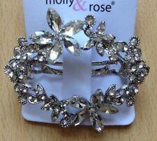 A Beautiful Silver Flower Ring Diamanté Metal Barrette Hair Clip