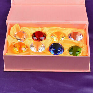 Set 8 Crystal Diamond Shape Paperweight Gem Display Wedding Decor Ornament 30MM