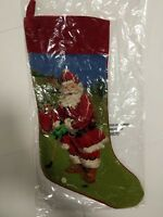 Needle Point Santa Golfing Christmas Stocking Golf