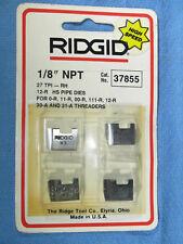 "New - Ridgid 1/8"" Npt 27 Tpi Rh 12-R Hs Pipe Dies No. 37855 Made in Usa"