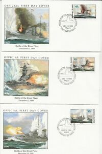 50th Ann WWII Comm/FDC - Mars Isles - River Plate Battle with Stamps -1990 (143)