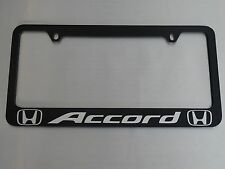 Honda accord license plate frame, glossy black metal, Brushed aluminum text