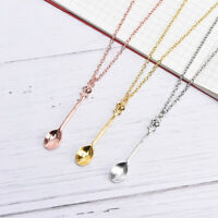 Fashion Women Tiny Tea Spoon Crown Pendant Necklace Alloy Chain Charm Jewe I2