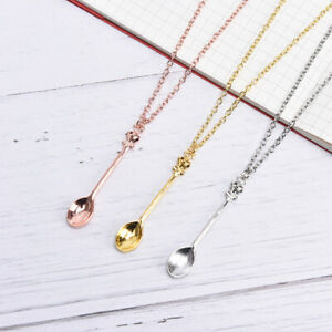 Fashion Women Tiny Tea Spoon Crown Pendant Necklace Alloy Chain Charm Jewelr.AU