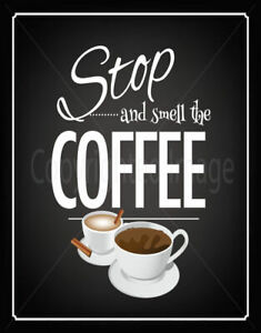 STOP AND SMELL THE COFFEE LARGE METAL TIN SIGN POSTER VINTAGE RETRO WALL PLAQUE