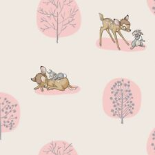 Bambi Woodland Forest Dreams Thumper Rabbit Tree Light Pink Cotton Fabric BTY