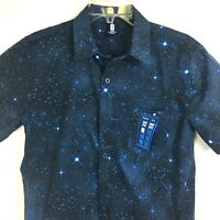 Doctor Dr Who BBC Shirt Small Blue Button Front Tardis Police Box Embroidery
