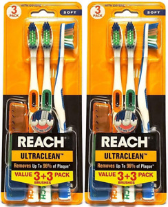 Reach Ultra-Clean Soft Toothbrush with Covers, Assorted Colors, 3 Count (Pack of