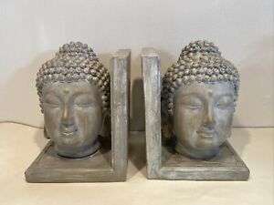 Buddha Head Bookends Grey Stone Effect Book Holders Ornament Study Library