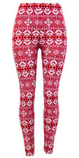 Christmas Holiday Leggings Burgundy &White Colors Super Soft ONE SIZE From USA