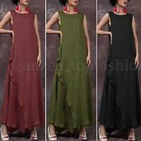 New Zanzea S-5XL Women Sleeveless Loose Shirt High Split Shirred Long Maxi Dress