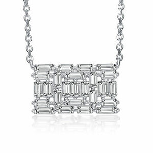 Rozzato .925 Silver  Clear Emerald Cubic Zirconia Rectangular Cluster Necklace