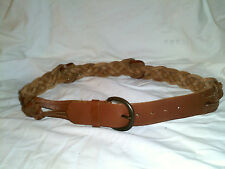 ABERCROMBIE & FINCH BROWN BRAIDED  GENUINE LEATHER BELT NEW  SIZE S