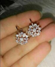 1.75 Ct Marquise Cut VVS1 Diamond Cluster Leverback Earrings 14k Rose Gold Over