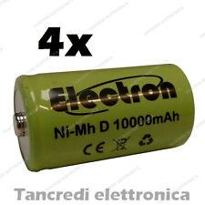 4pz Pila Batteria ricaricabile Ni-Mh NiMh torcia D 1,2V 10000mAh 10Ah torcione