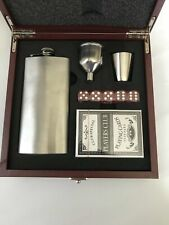 Rosewood flask and player cards,dice set