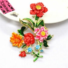 Hot Color Enamel Lovely Flower Bouquet Crystal Betsey Johnson Charm Brooch Pin