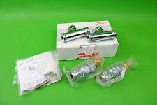 Danfoss RLV-D Straight Valve Lockshield & Wheel-head Pack 8/10/15mm Chrome