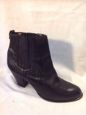 Autograph Black Ankle Leather Boots Size 7.5