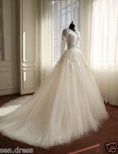 Real Samples Long Sleeves Muslim Wedding Dresses Applique Flowers Bridal Gowns