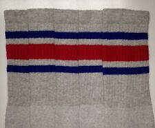 "22"" KNEE HIGH GREY tube socks with ROYAL BLUE/RED stripes style 3 (22-163)"