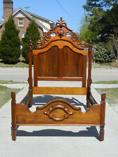 Victorian Walnut Fancy Carved Bed