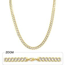 """Men's Heavy Cuban White Pave Necklace Chain 6.50mm 26"""" 40.50gm 14k Gold Two Tone"""